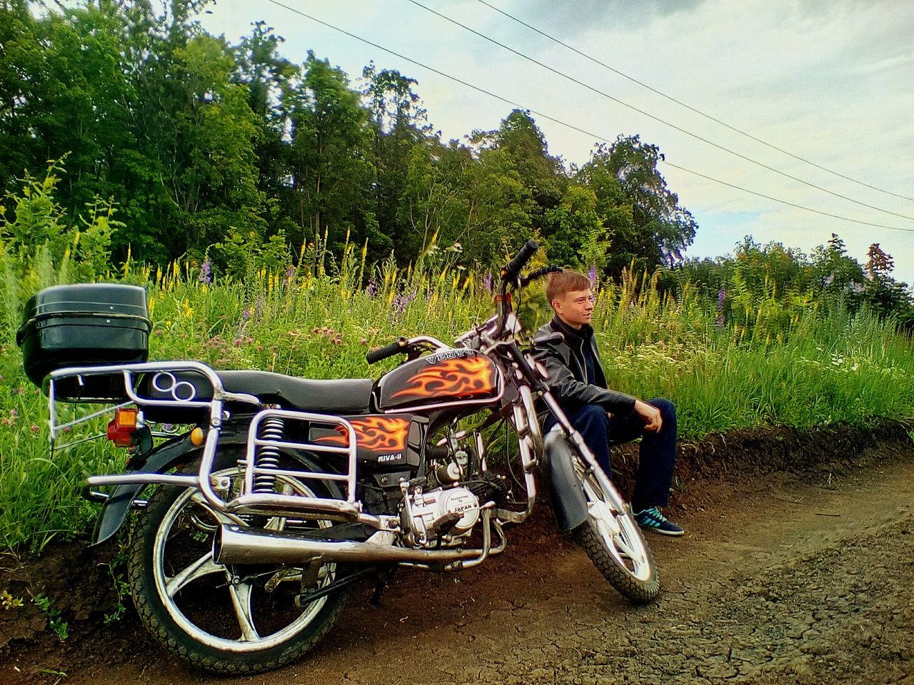 tree, transportation, motorcycle, growth, field, outdoors, day, land vehicle, nature, sky, one person, people