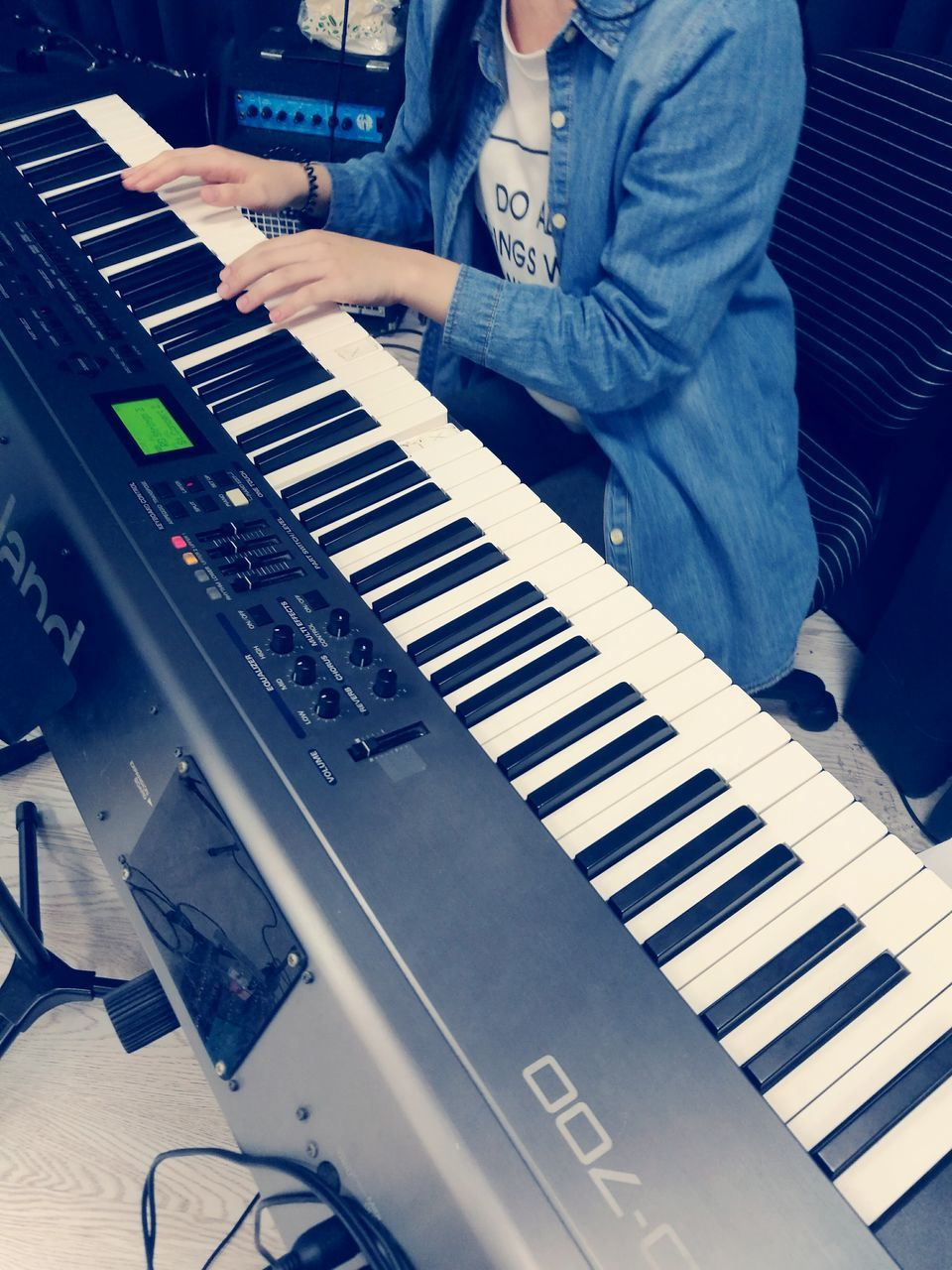 music, musical instrument, piano key, real people, technology, arts culture and entertainment, indoors, musician, playing, midsection, piano, accordion, recording studio, keyboard, one person, close-up, day, people