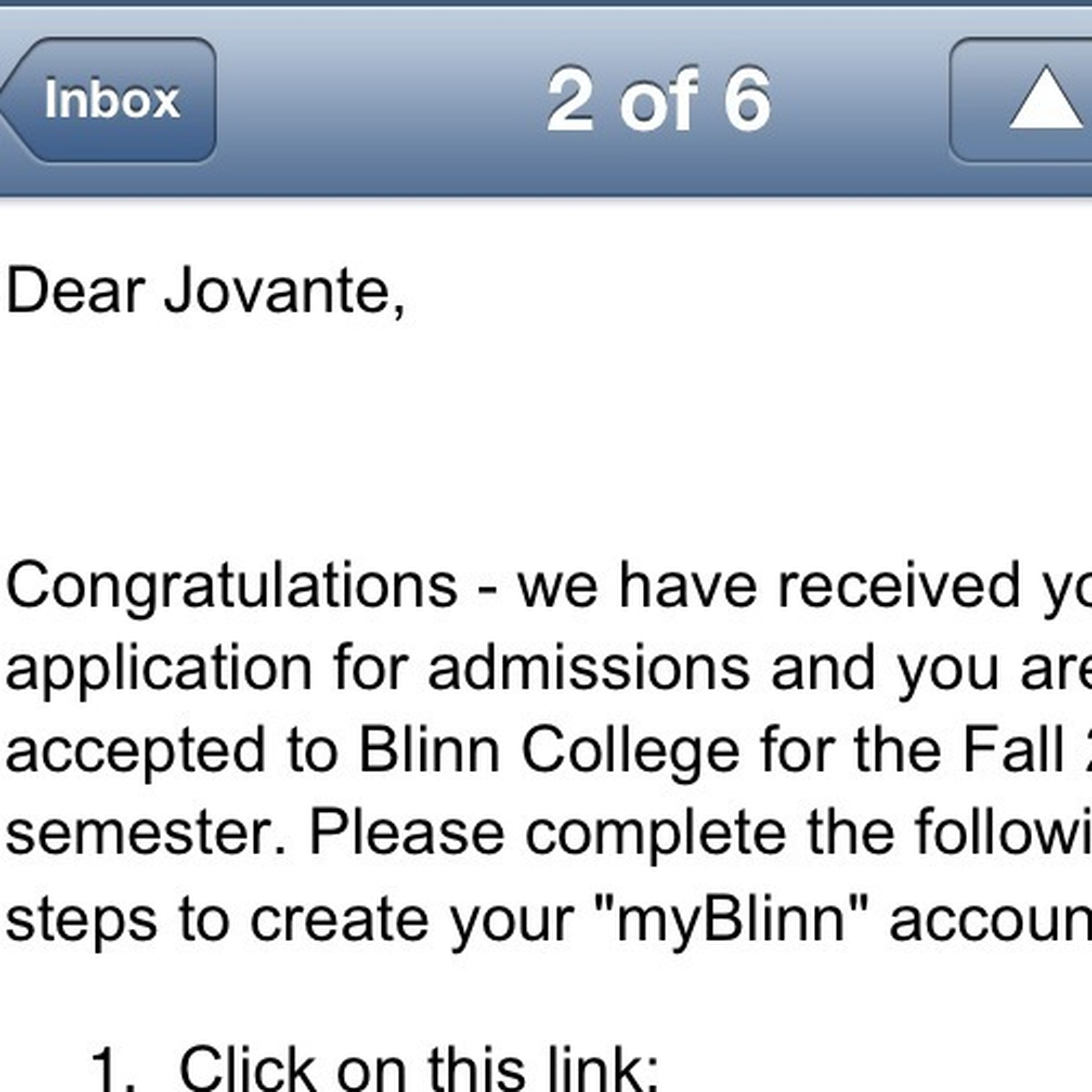 My Second Acceptance Letter