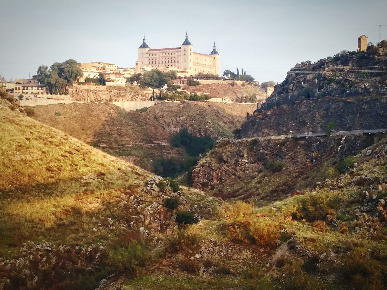 Seen from the opposite bank of the Tajo River, the Toledo Spain Alcazar. Architecture History Travel Destinations Outdoors