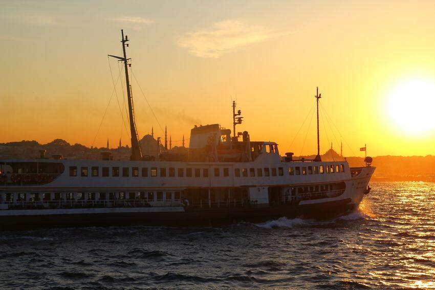 Boat Bosphorus Mosque Sea Sky Sun Sunset Water Waterfront