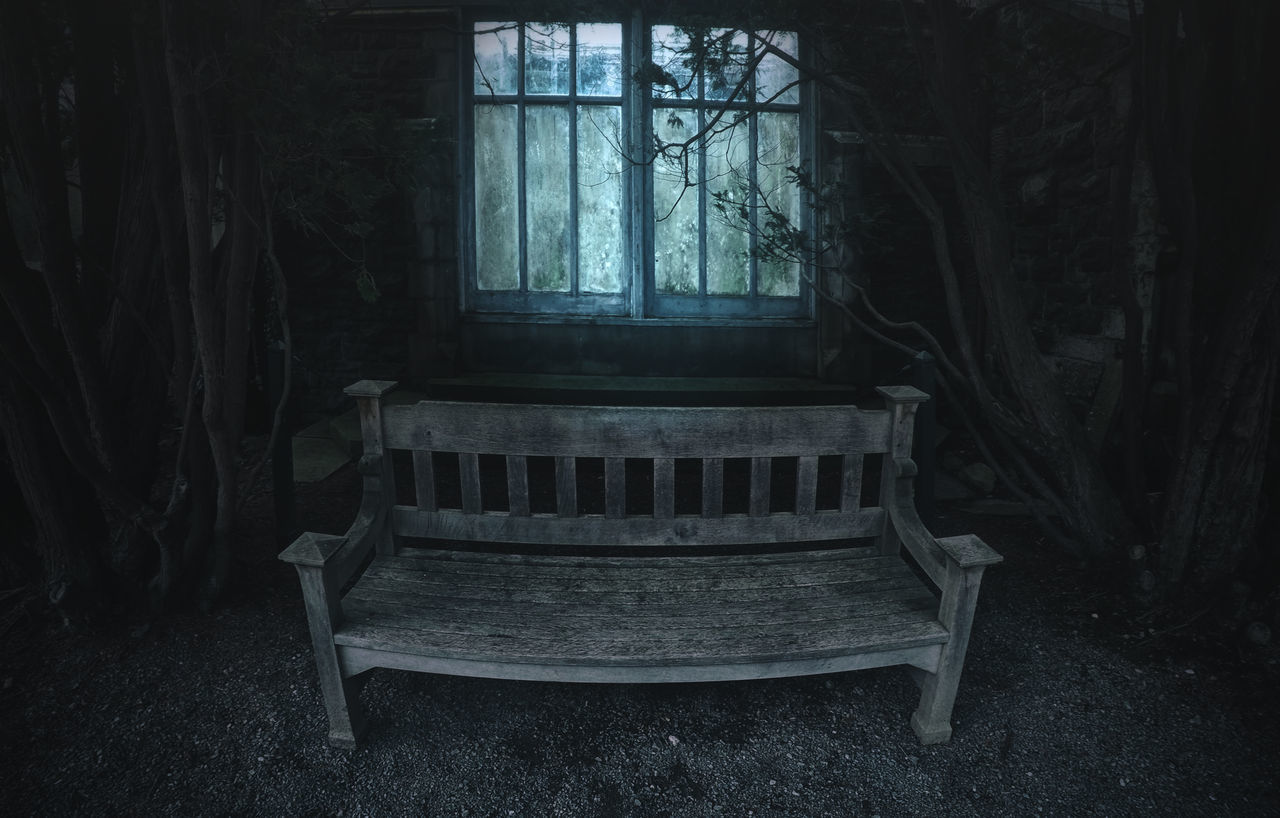 Window seat. Dark Bench Window Light Trees Shadows Abandoned Building Spooky Halloween Seat Outdoors Nature Creepy Gothic Branches Moody Spooky Atmosphere Haunted Haunted House Architecture Old Buildings Exploring Night Glow In The Dark