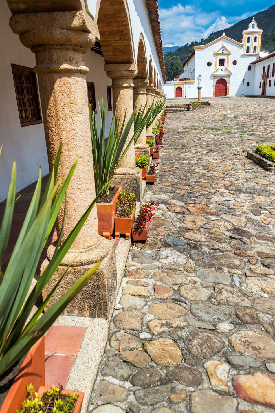 La Candelaria Monastery and courtyard near Villa de Leyva, Colombia America Architecture Boyaca Building Colombia Colonial Country Countryside Exterior Historic House Latin Outdoors Residence South Stone Style Town Travel Typical VillaDeLeyva Wall White Window Wood