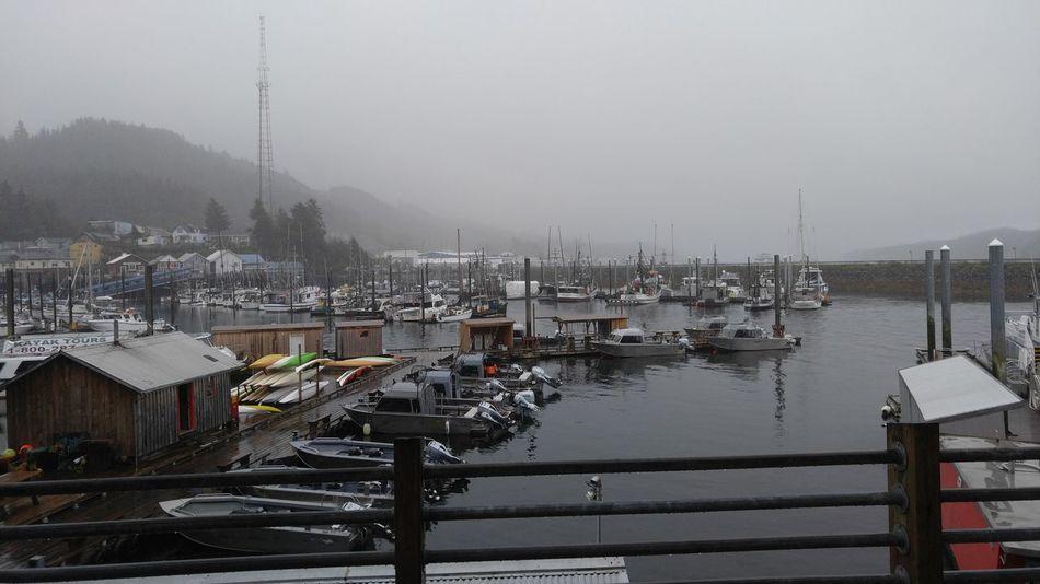No Edit/no Filter Taking Photos Downtown KetchikanAlaska Alaskanadventures In The Rain Clouds And Fog Foggy Day Clouds Boats And Moorings Marina Thomas Basin Smoke Break