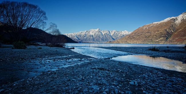 A winter's evening near Queenstown. Clear Sky Cold Cold Temperature Mountain Mountain Range New Zealand No People NZ Queenstown Scenics Snow The Remarkables Tranquil Scene Water Winter Winter