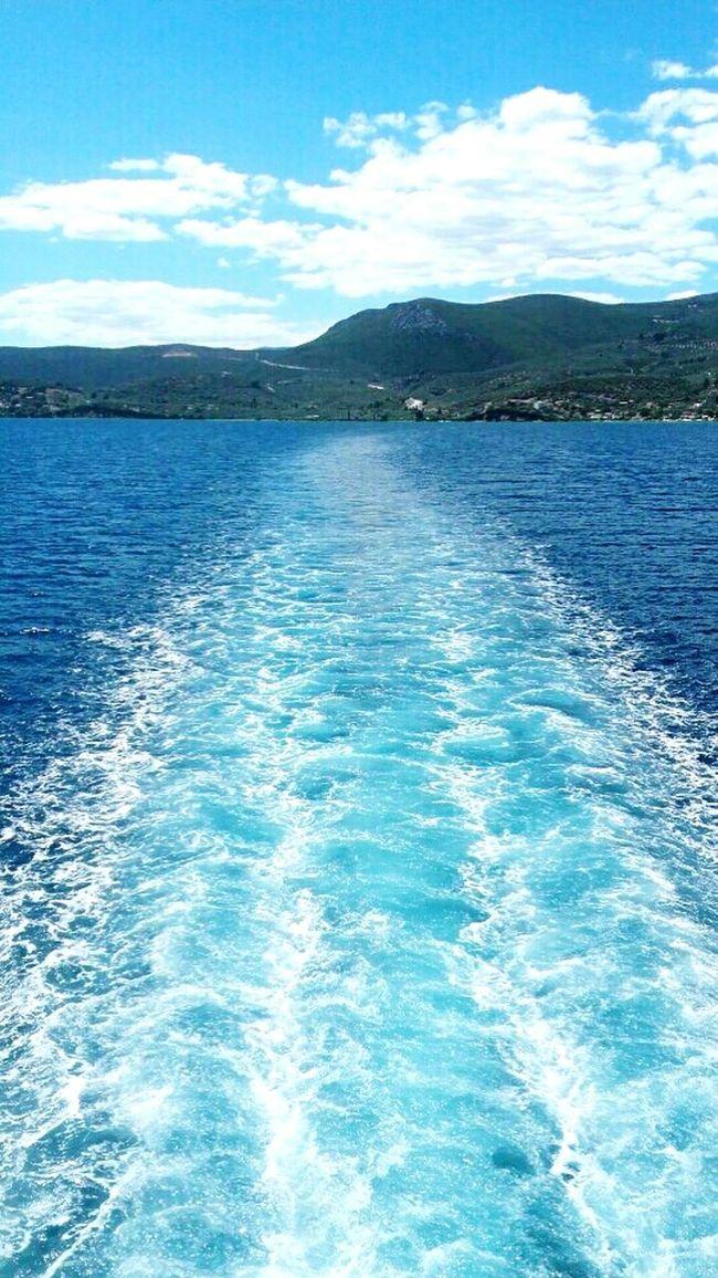 Sea Sea And Sky Waves Water Boat Blue Blue Sky Blue Sea Fresh AF Fresh Likeforlike Like4like Greece Aidipsos Aegean Sea Beautiful Greece