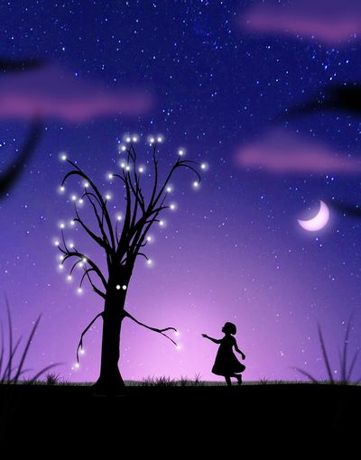 Edited Enjoying Life Drawing Drawing ✏ Illustration Artistic Expression Story for Children Art ArtWork Hello World Art, Drawing, Creativity Poetic Poeticimage Magicpict Magical Trees Child Littlegirl Night Moon Fine Art Affiche Spectacle Creativity Artists_united