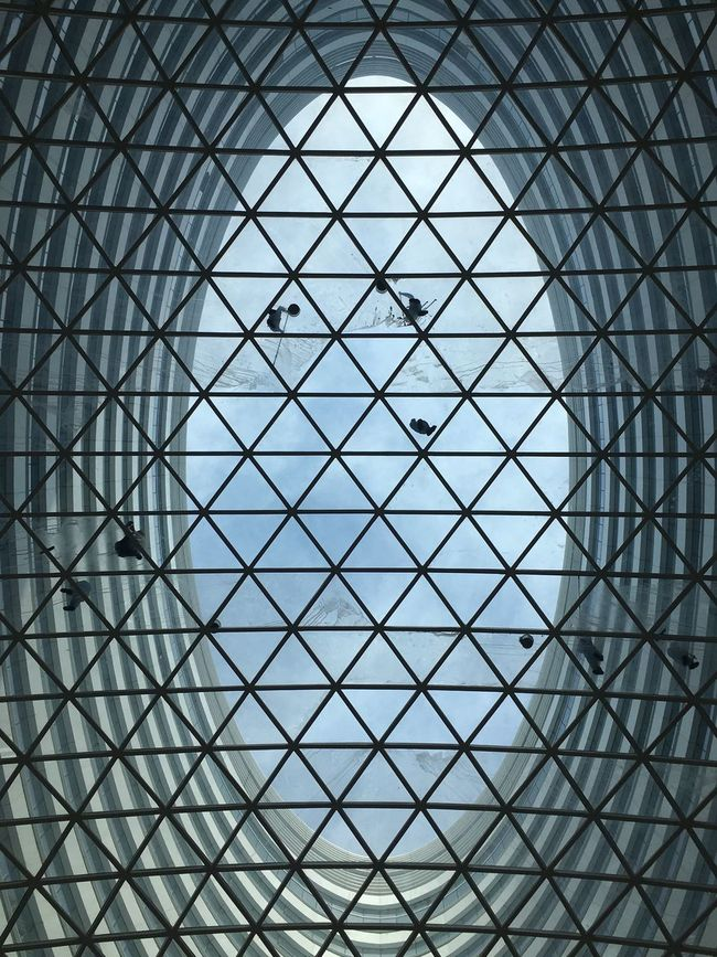 Beijing People Cleaning Glass Futuristic Architecture Pattern Full Frame Built Structure Backgrounds Repetition Geometric Shape Building Exterior Blue Modern Architectural Feature Architectural Design Sky Day Architecture And Art Office Building No People