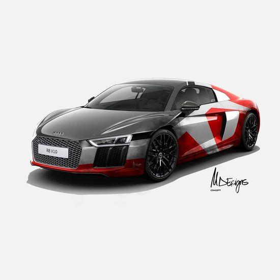 Car Card Design Red Gear Spain🇪🇸 Own Style  Laklines Designer  Diseño Concept Audi R8 Auto Racing