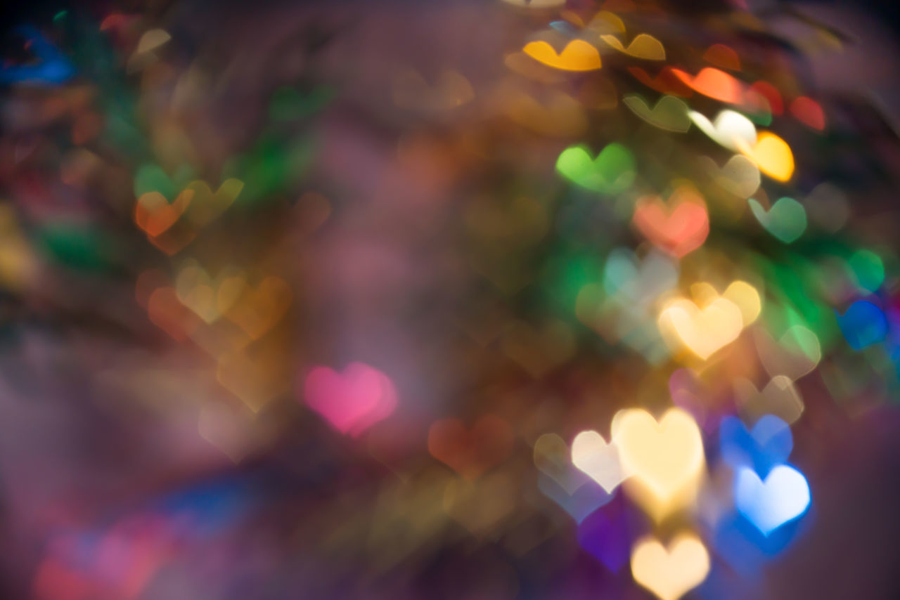 Defocused Image Of Illuminated Heart Shapes