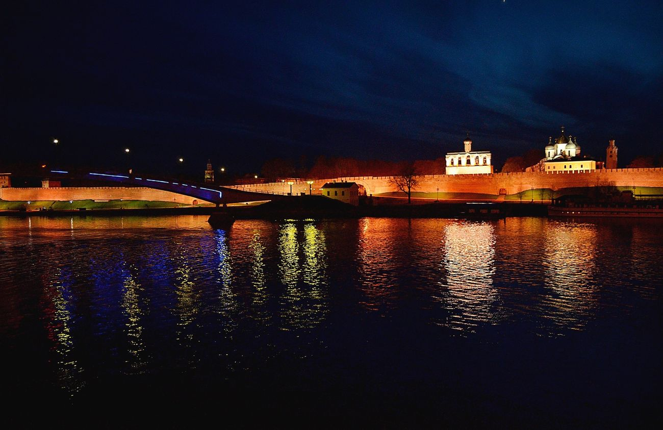 Water Architecture River No People Bridge Night Travel Velikiy Novgorod Summertime Sky