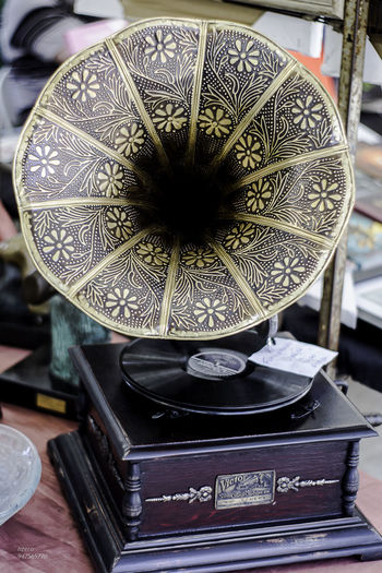 Antique Arts Culture And Entertainment Close-up Day Gold Colored Gramophone Indoors  No People Old-fashioned
