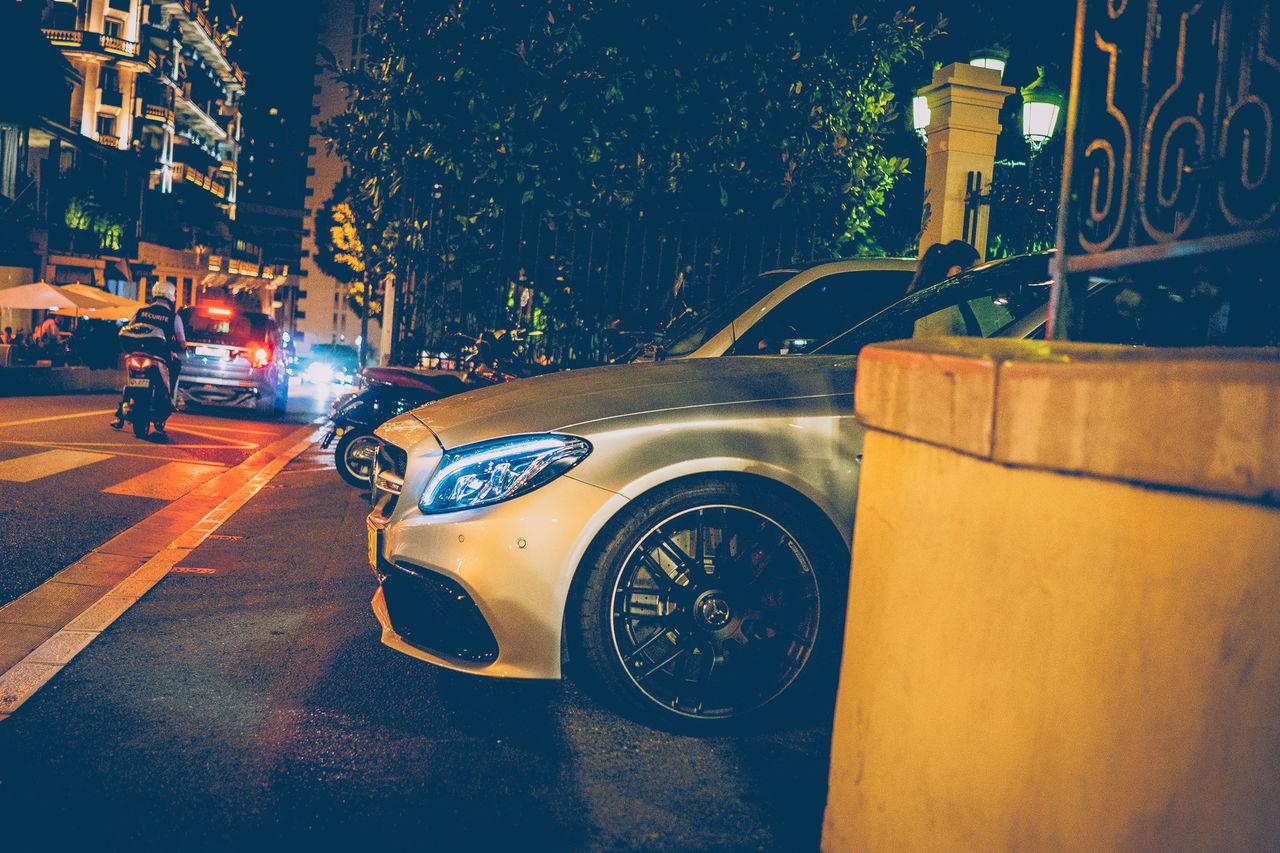 C63 Car City City Life Illuminated Mercdes Mercedes Monaco Night No People Outdoors Transportation Tree