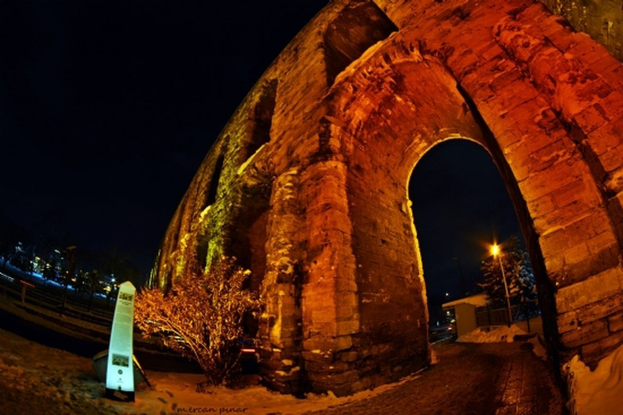 night, built structure, architecture, illuminated, arch, no people, outdoors, building exterior, sky