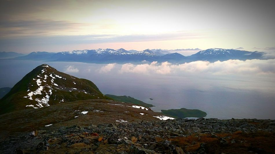 Hello World Check This Out Mountain Hiking Taking Photos Northern Norway Norway Nature Visitnorway Awesome_nature_shots It's Cold Outside Snow Covered Mountaintop Mountains And Sky Sea Partly Sunny Proud To Be Me