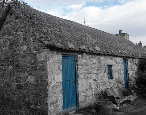 An old post office in the middle of nowhere in Scotland Architecture Built Structure Color Key Colorkey Colorsplash Colour Key Country House Countryside Eyeem Colorkey Hideaway Hideaways House In The Middle Of Nowhere Old Buildings Old House Old Post Office Old-fashioned Post Post Office Scotland Secret Hideaway Shades Of Blue Showcase: December Thatched Roof