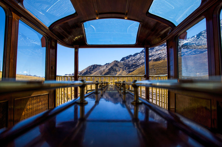 Andean Explorer Train Journey Architecture Arts Culture And Entertainment Day Horizontal No People Outdoors Panorama Peru Rail Railing Reflection Sky Social Issues Train Travel Destinations