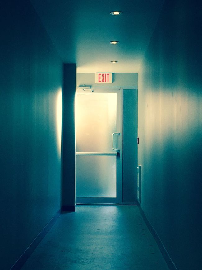 """""""Sunday, Out of Service"""" IPhoneography IPhone Blue Indoors  Door Sign Illuminated Exit Sign Entrance Interior Architecture"""