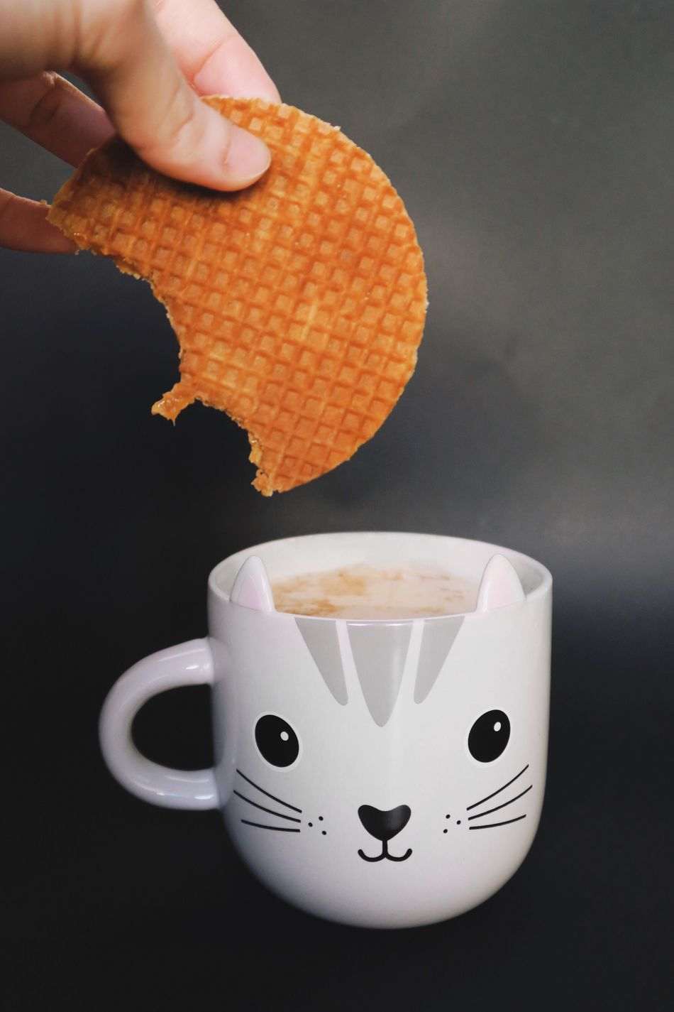 🍵🍪🐱 Coffee - Drink Food And Drink Coffee Cup Drink Human Hand Refreshment Human Body Part One Person Food Indoors  Freshness Dipping Close-up Day Cup Of Tea Honey Cookies Cat Mug Mug Tea Time Cup Cat Tea Cookies Black Background
