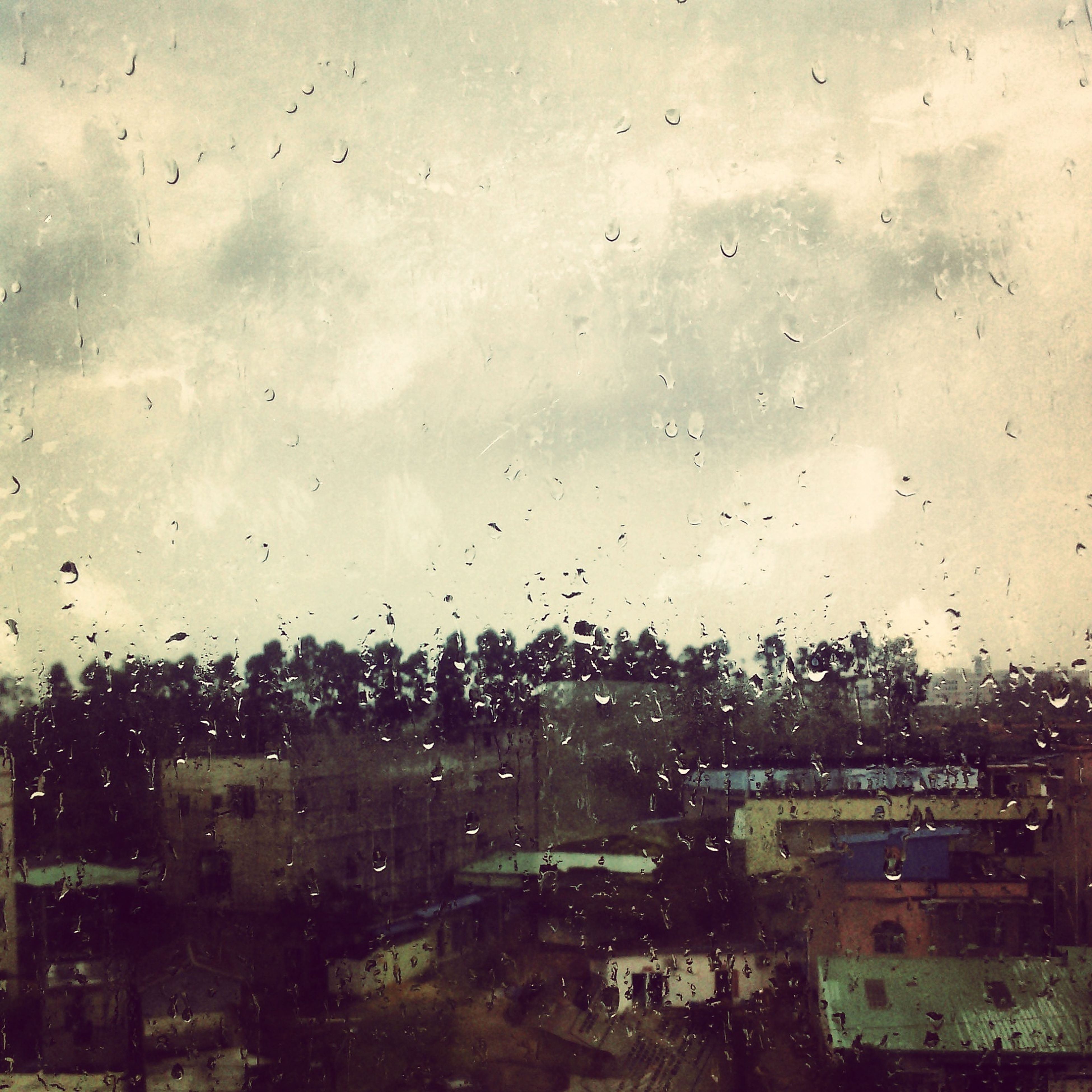 drop, wet, window, transparent, rain, sky, indoors, water, glass - material, raindrop, weather, glass, full frame, focus on foreground, season, cloud - sky, backgrounds, building exterior, built structure, tree