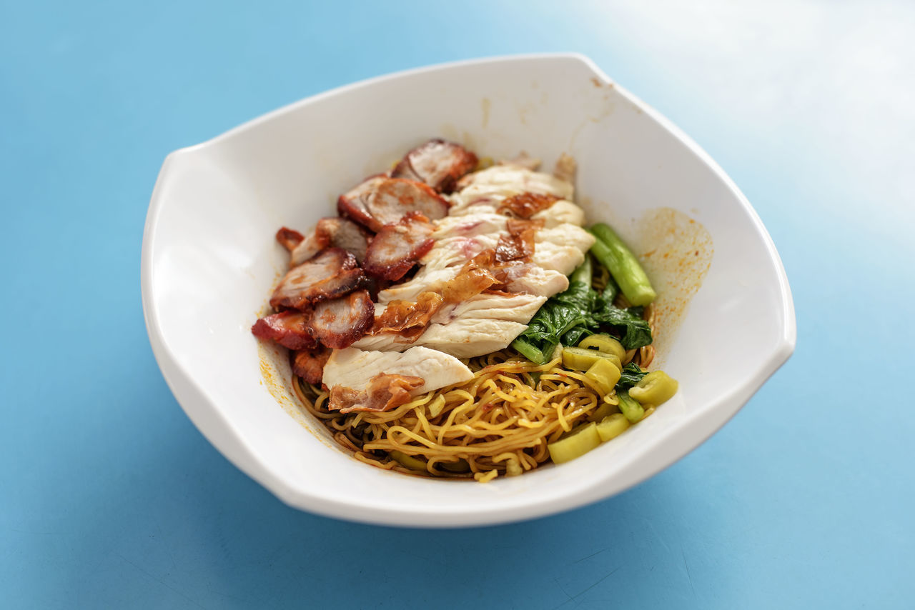 Char Siew and Roasted Chicken Noodles Asian Food Bowl Char Siew Chinese Food Close-up Day Food Food And Drink Freshness Healthy Eating Indoors  Meal No People Noodles Ready-to-eat Roasted Chicken Table