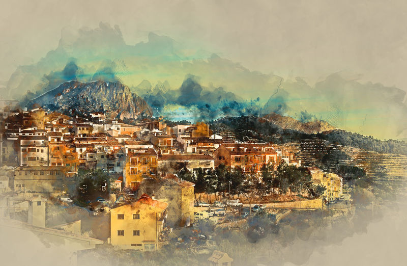 Sella village, old village in Spain. Alicante province. Digital watercolor painting Alicante Province Spain Architecture Beauty In Nature Beauty In Nature Digital Art Digitally Generated Image Drawing Europe Houses Illustration Landscape Mountain Nature No People Outdoors Scenery Sella Sky SPAIN Spanish Town TOWNSCAPE Typical Village Watercolor
