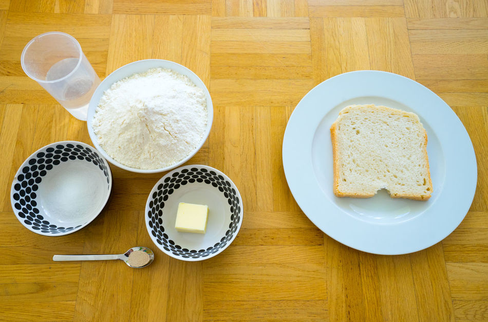 Before And After Before Cooking Bowl Bread Breakfast Butter Cook  Cooking Cup Directly Above Food Freshness How To Make Indulgence No People Overhead View Salt Serving Size Still Life Suger Table Water Wheat