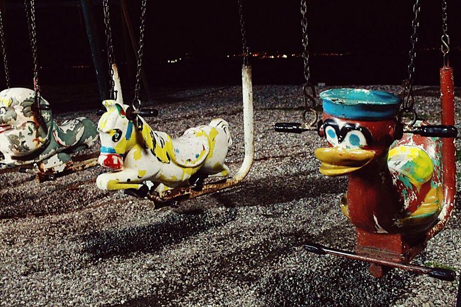 In Greece Nafpaktos Taking Photos Childhood Playground Swings Let's Swing Swing Swing Swing Night Photography