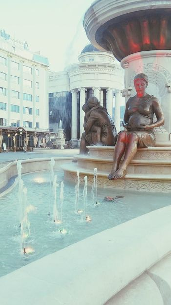 Pregnant Phtography New Mother Monuments Fountain Lights Skopje Macedonia L4l
