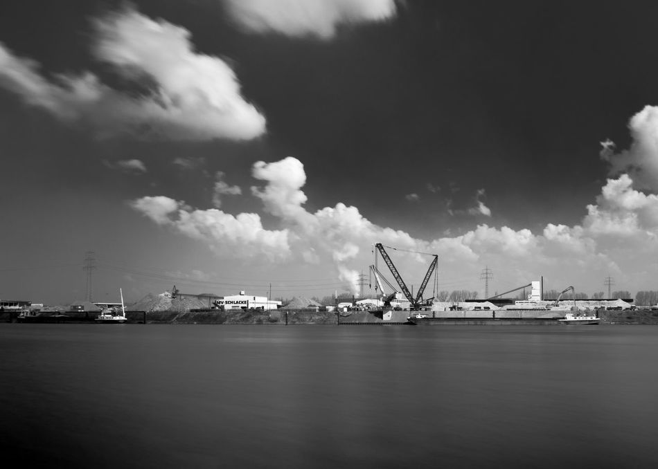 Harbor in Krefeld Black & White Black And White Blackandwhite Day Harbor Long Exposure Long Exposure Daytime Longexposure Sky And Clouds Smooth Water Water Krefeld KrefeldLinn Krefeld Rheinhafen