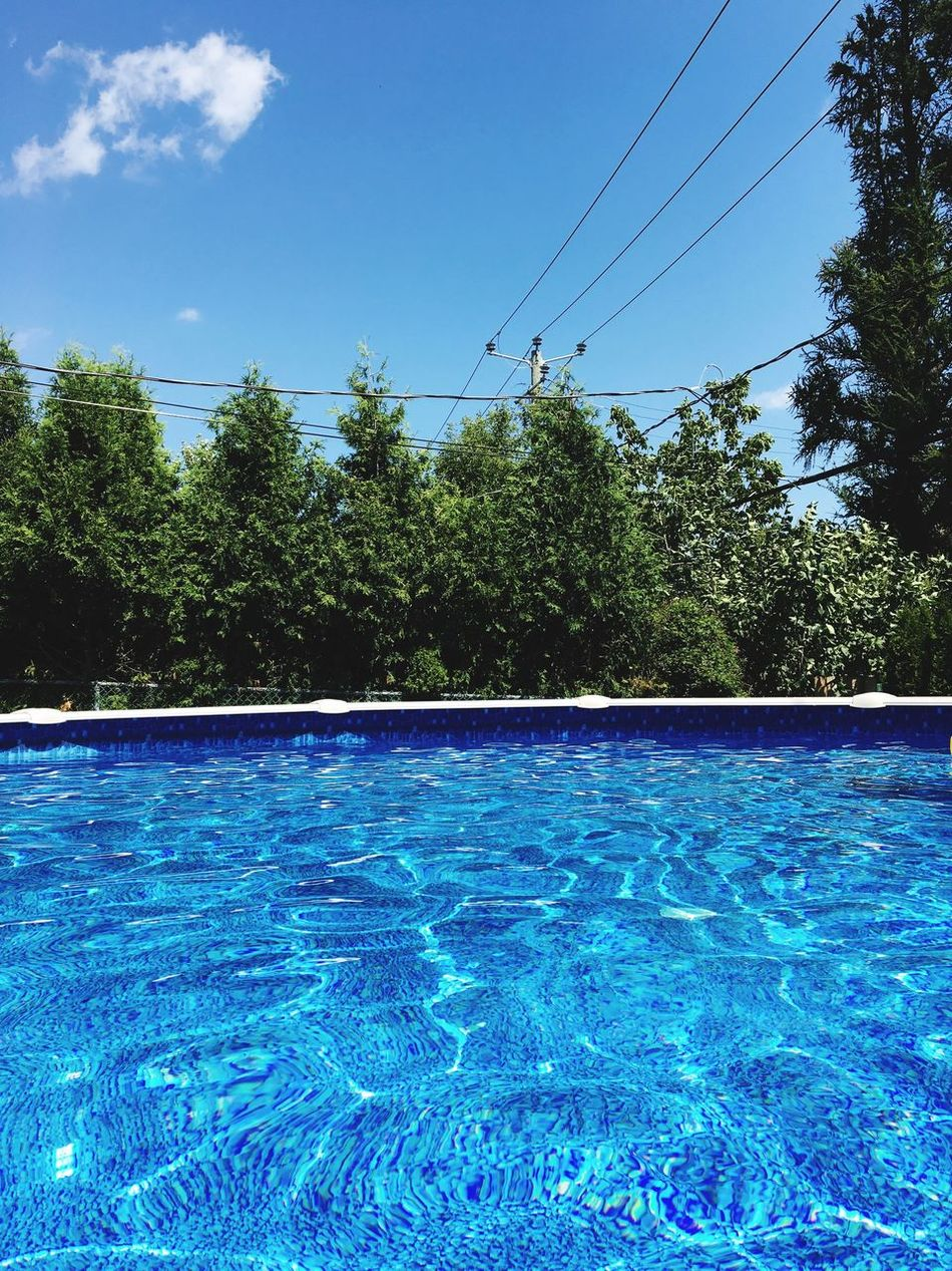 Pool Pool View Poolview Backyard Summer Summertime Trees Trees And Sky EyeEm Best Shots Eyemphotography EyeEm Gallery Blue Sky Bluewater