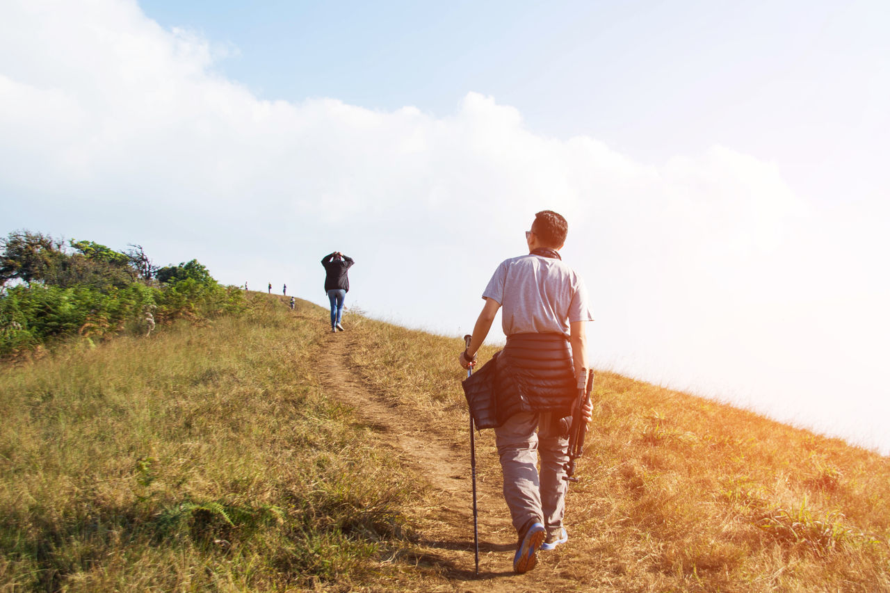 Adult Adults Only Adventure Beauty In Nature Cloud - Sky Day Friendship Full Length Healthy Lifestyle Hiking Landscape Men Nature Outdoor Pursuit Outdoors People Rear View Scenics Sky Togetherness Two People Vacations Walking Young Adult