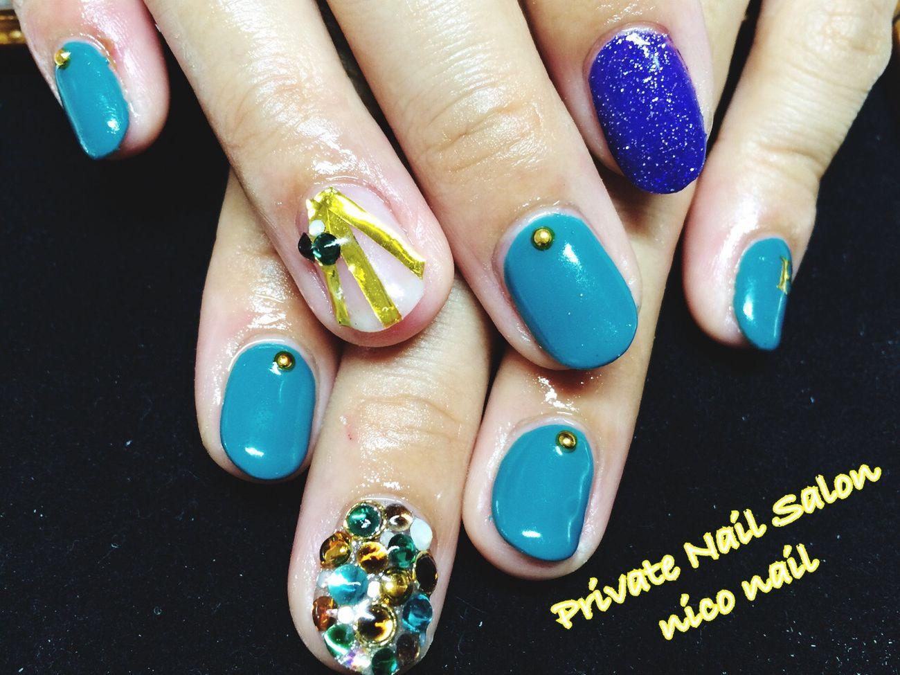 お客様ネイル Nail 格安 可愛い 自宅ネイル ネイル Nails Cute Gel Green スワロフスキー