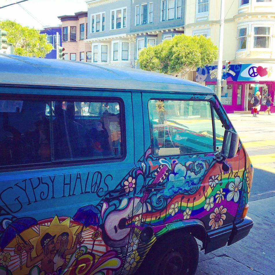 San Francisco Haight-Ashbury Volkswagen Volkswagenbus Colorful Hippie Mode Of Transport California