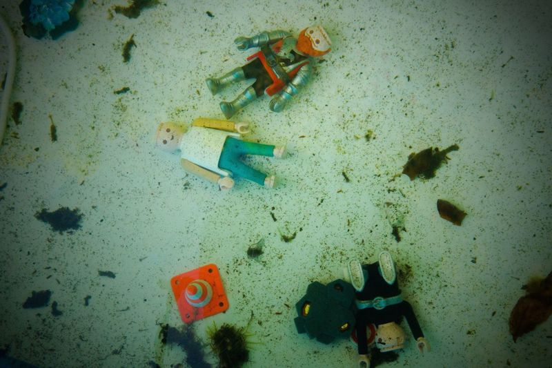 High Angle View No People Indoors  Day Close-up Playmobil Toys Underwater