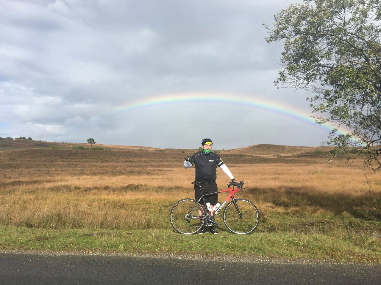 Beautiful stock photos of regenbogen, bicycle, cloud - sky, one person, full length