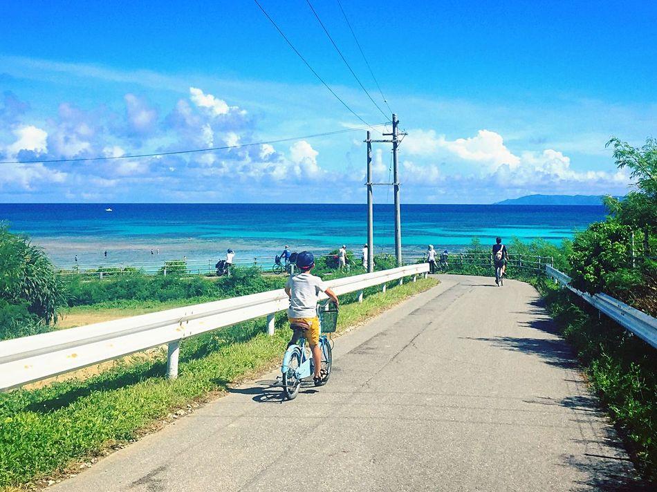 波照間島 波照間 Hateruma Haterumajima Hateruma Blue Sloping Road Downhill Blue Sky Bluesky Sea Sky Clouds Bluesea Blue Sea Bycicles Yaeyama Okinawa BlueGradation