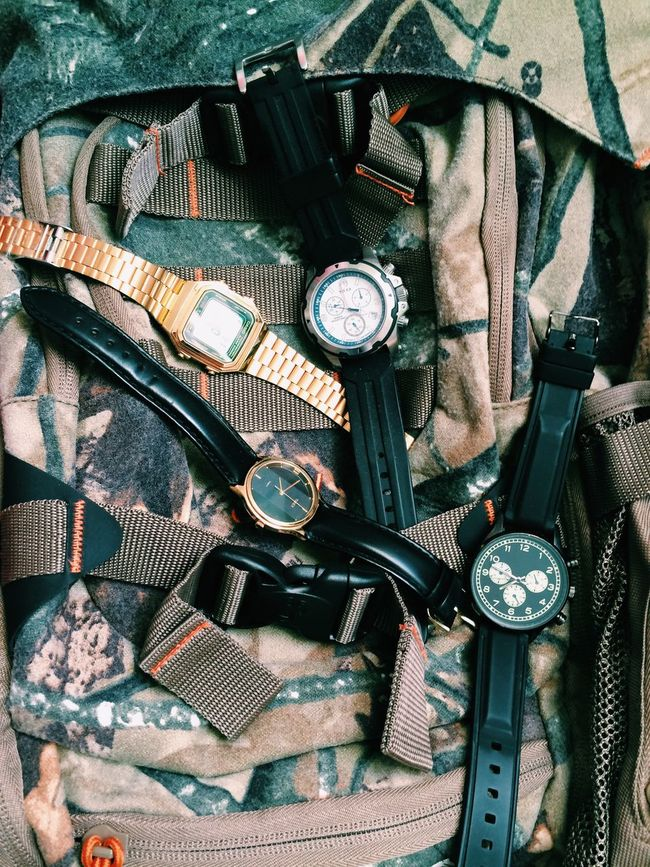 Bag Black Black Leather Casio Casio Watch Casiovintage Casiowatch Close-up Comouflage Day Gold Indoors  Leather Metal No People Old Old-fashioned Part Of Time Time To Reflect Timex Timex Watch Watches Watchesofinstagram Watches⌚️