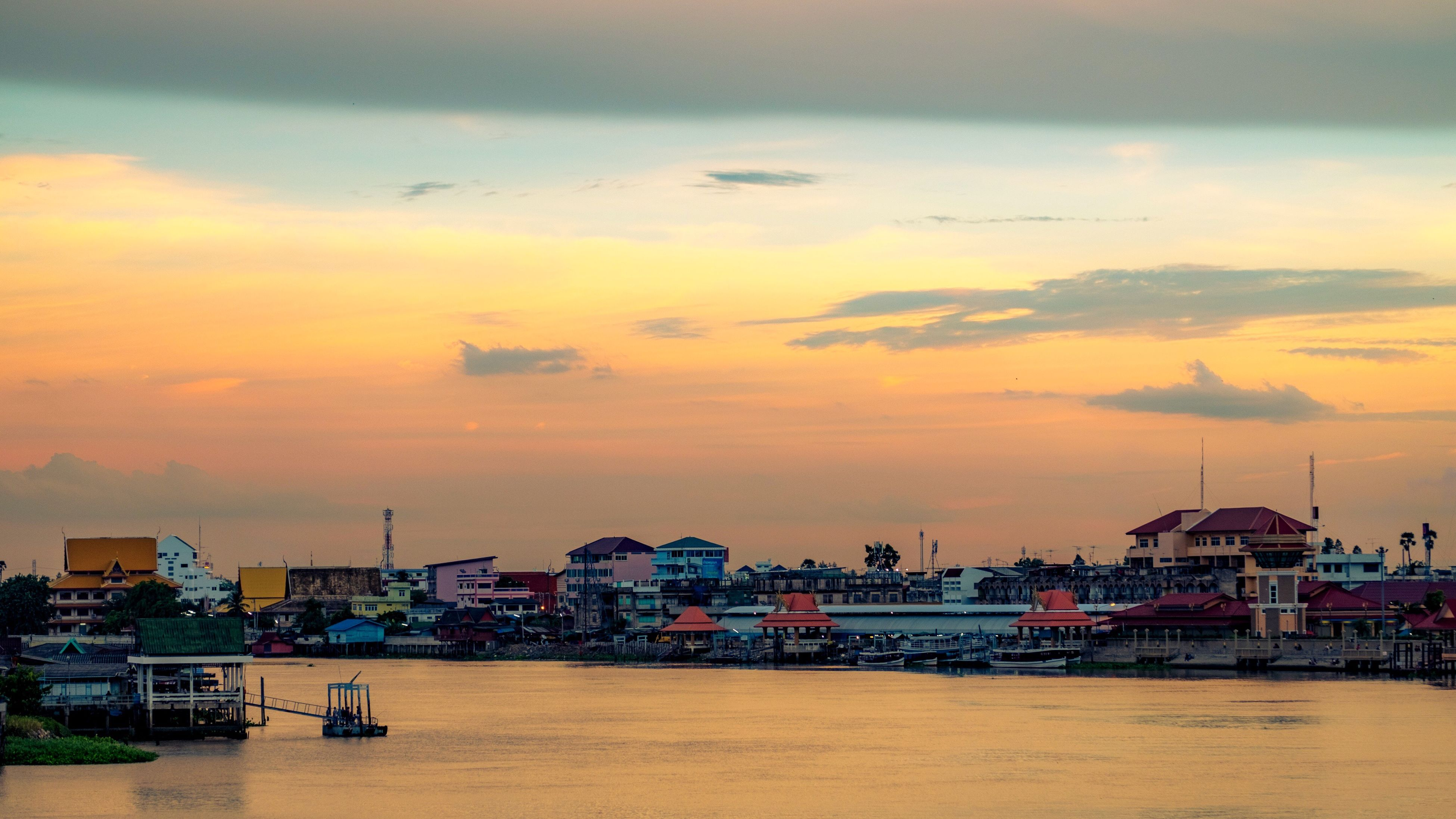 architecture, building exterior, built structure, sunset, sky, cloud - sky, water, cityscape, city, sea, nautical vessel, waterfront, outdoors, nature, harbor, no people, beauty in nature, urban skyline, horizon over water, day