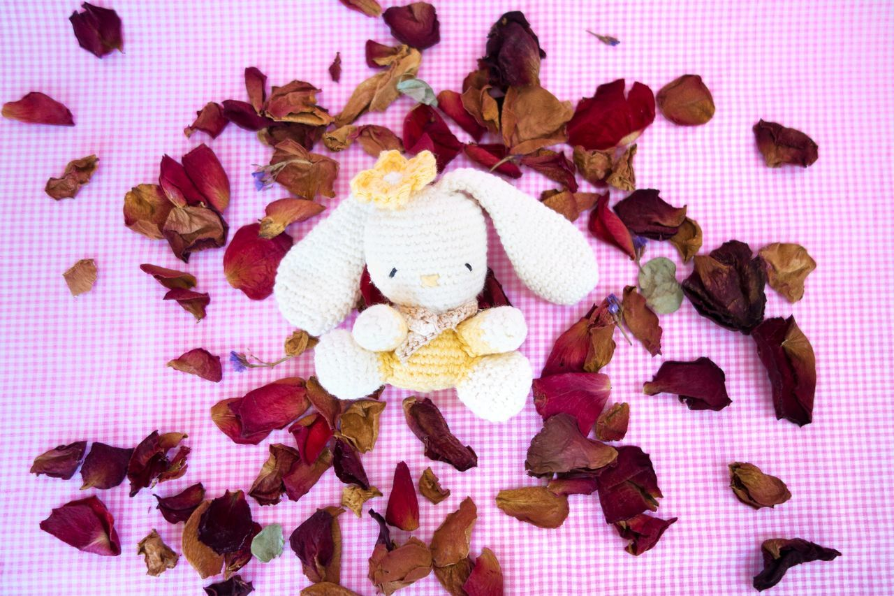 Amigurumi Crochet Crochet Toy Flower Petal Flower Petals Pink Background Rabbit Rose Petals Soft Toy White Rabbit