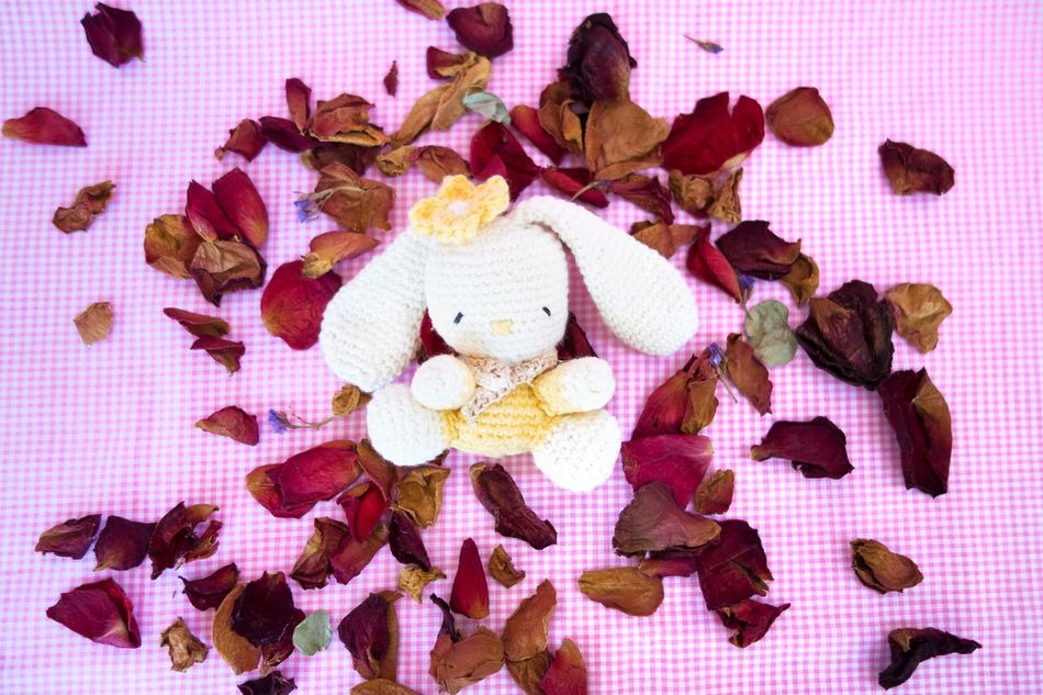 Amigurumi Crochet Crochet Toy Flower Petal Flower Petals Pink Background Rabbit Rose Petals Soft Toy White Rabbit