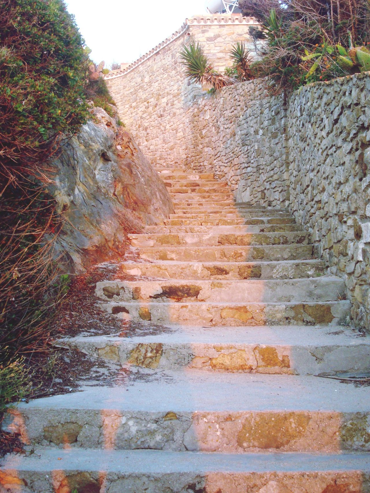 Light And Shadow Stairways Steps Stone Stone Wall Rocks Sunset Vacation Summer SPAIN