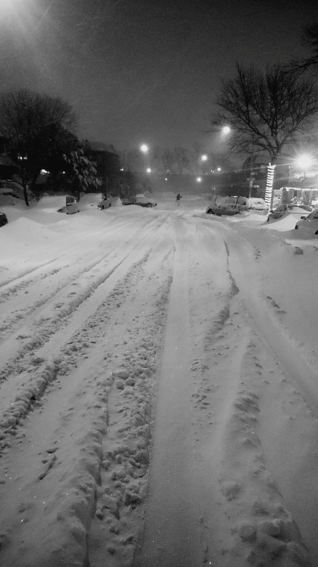 Snow Street Street White White Winter NYC Snow SNOW NIGHT Nyc Under Snow Snow City Snow Day Black And Snow Tri Boro Bridge Tree Winter Walk long walk after work.