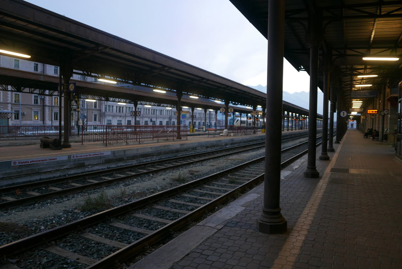 Diminishing Perspective Journey Long Perspective Public Transportation Rail Transportation Railroad Station Railroad Station Platform Railroad Track Railway Track Transportation Travel Vanishing Point No People Empty Absence Railway Station Railway Platform Aosta Italy