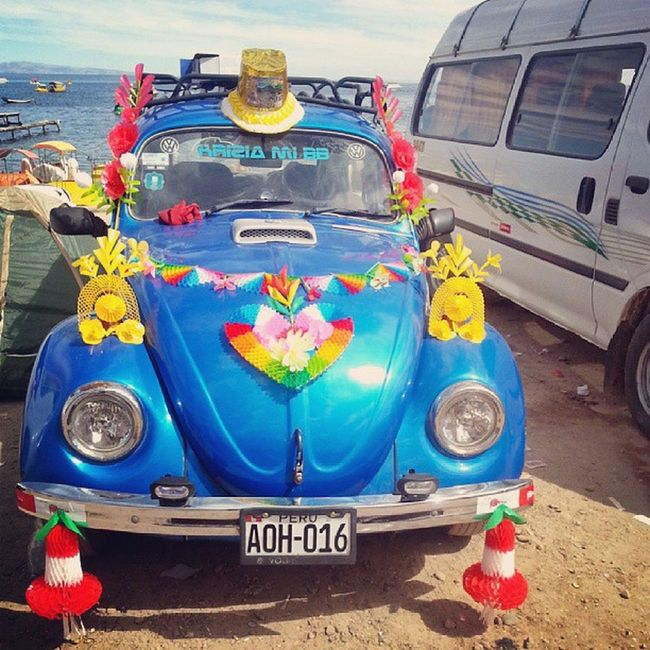 During August, lots of Peruvians take their new Cars to Copacabana to be blessed against any harm.