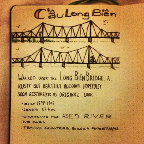 Sketchnoting another day in Hanoi : the Longbienbridge crossing the RedRiver , sketchnotes traveldiary