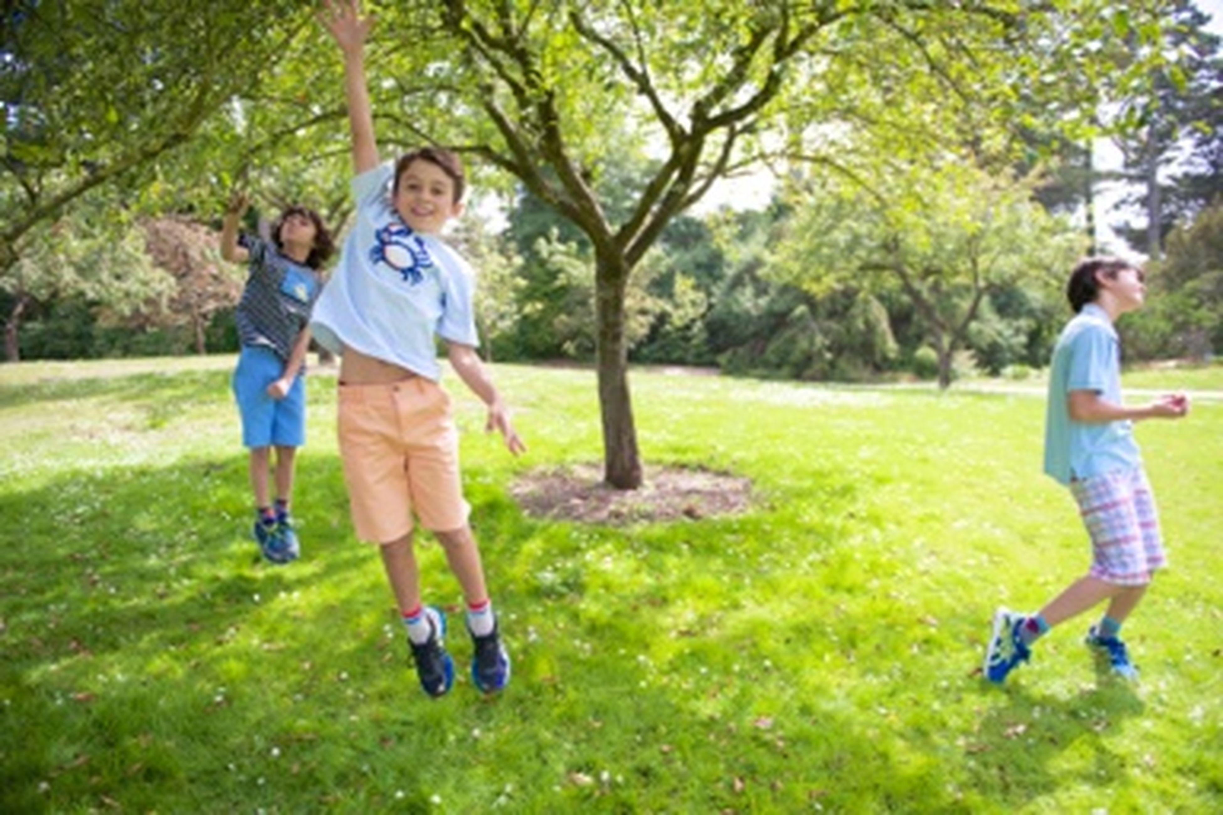 childhood, grass, lifestyles, leisure activity, full length, boys, elementary age, casual clothing, tree, playing, girls, green color, playful, park - man made space, person, fun, innocence, enjoyment