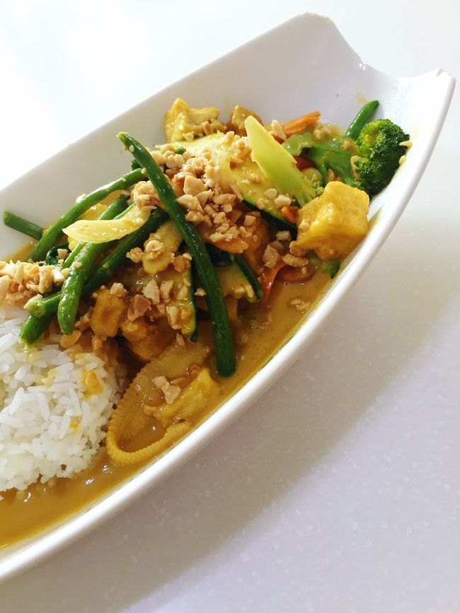 Curry Thai Food Yellow Curry Rice Lunch Tofu Vegetarian Food