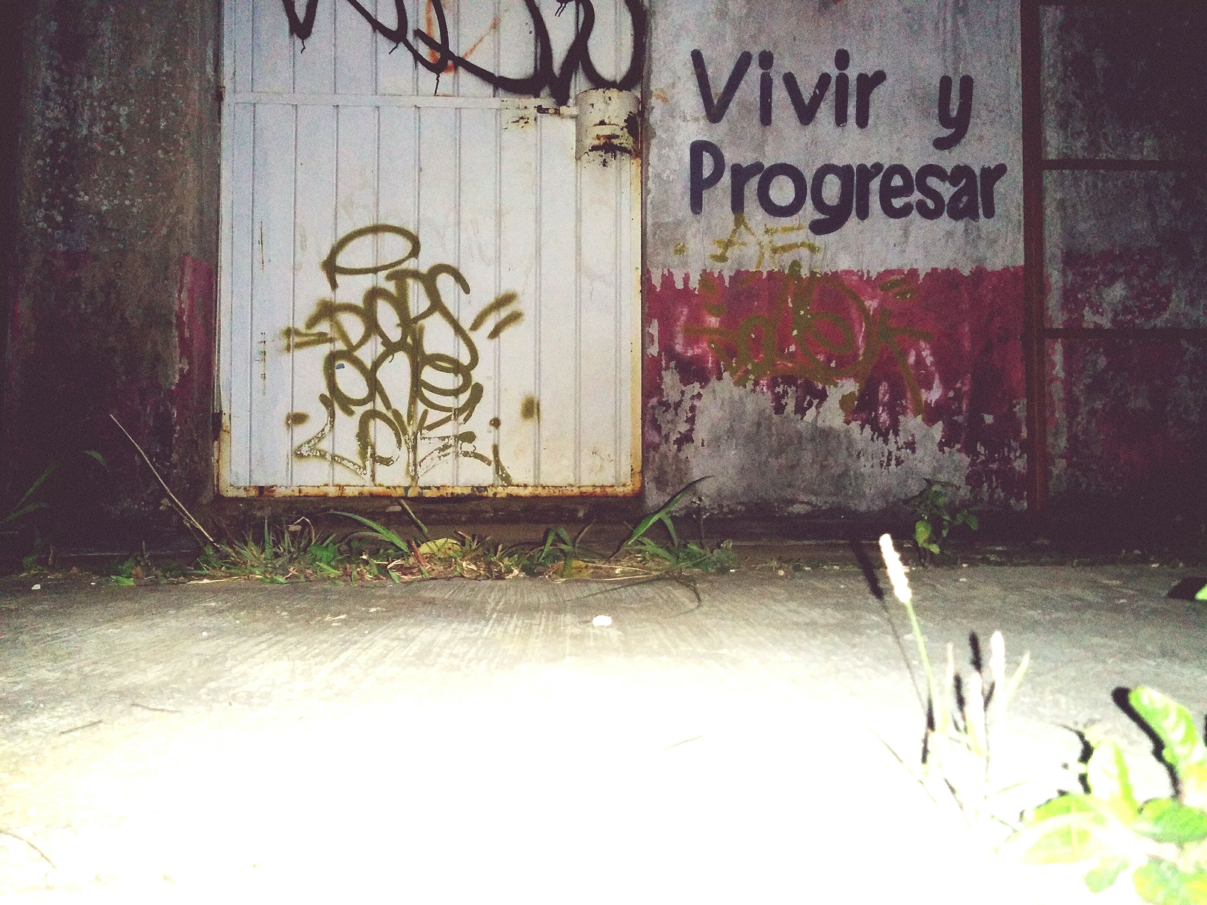text, western script, architecture, built structure, wall - building feature, graffiti, communication, building exterior, wall, weathered, door, abandoned, outdoors, no people, capital letter, day, damaged, old, house, window