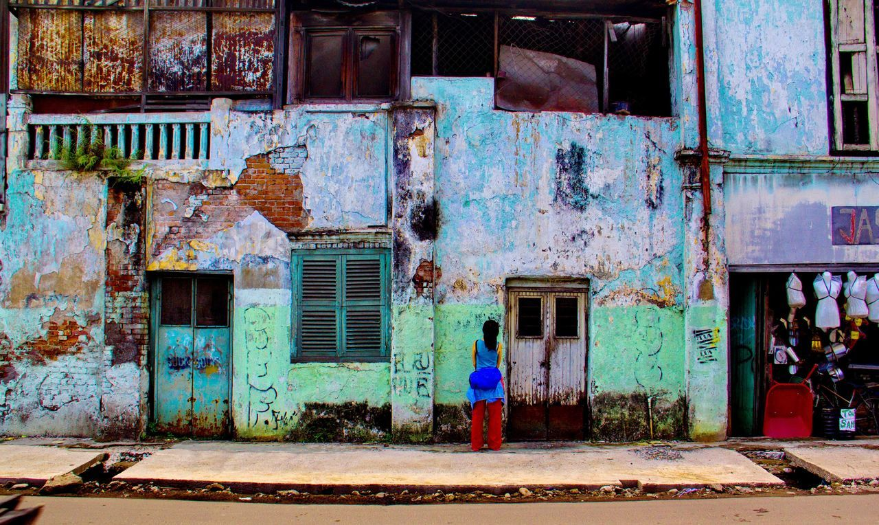 old building wall Ancient Brick Wall Deserted House INDONESIA Medan Paint Retro Textured  Tourist Wall Wood Abandoned Abstract Adult Architecture Backgrounds Brick Building Exterior Built Structure Crack Day Deserted Dilapidated Door Full Length House Old Buildings One Person Outdoors People Real People Window